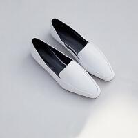 chic网红同款anna乐福鞋女鞋2019春季新款软皮一脚蹬平底真皮单鞋
