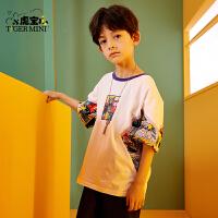 【2件3折:38.4元】小虎宝儿儿童短袖纯棉t恤2021新款夏装男童洋气上衣中大童