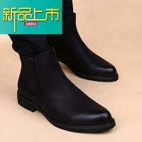 新品上市马丁靴男韩版潮流皮靴子英伦靴男尖头内增高短靴休闲高帮鞋