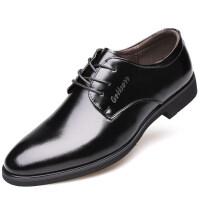 男士皮鞋男真皮韩版英伦商务正装6cm内增高牛皮黑色系带休闲皮鞋
