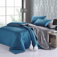 纯色全棉床单三件套1.2素色双拼纯棉床笠四件套1.5m1.8米定做 宝蓝灰 1米8床笠款被套加大四件套