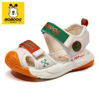 巴布豆童鞋2021夏季新款男童凉鞋软底包头小童宝宝女童儿童鞋子潮-卡其绿