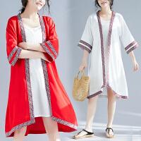 大码女装外套春季新款胖妹妹洋气中长款宽松减龄时髦薄款风衣