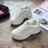 厚底韩版运动鞋百搭加绒女鞋ulzzang保暖休闲鞋原宿风跑步鞋冬季 白色 C01-1K