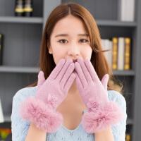 羊毛手套女冬季保暖加绒加厚可爱韩版户外骑行针织兔毛边毛绒手套