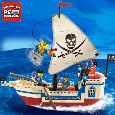 启蒙积木兼容乐高加勒比海盗船男孩子力6拼装7玩具8模型9岁10