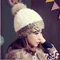 新款个性时尚休闲保暖帽可爱气质兔毛帽韩版潮护耳帽套头帽毛线球皮草帽子