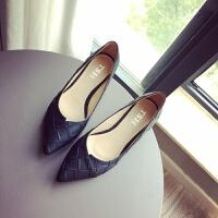 春季新款2019女鞋女士皮鞋浅口低跟工作鞋尖头大码单鞋黑色小跟鞋