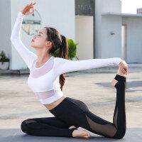 2019新款春夏季专业运动瑜伽服健身服初学者带胸垫长袖网纱套装女