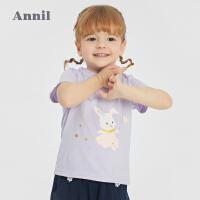 【2件4折价:47.6】安奈儿童装女童印花T恤2021新款3宝宝纯棉上衣短袖4幼儿夏装薄款