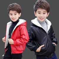 男童皮衣外套加绒加厚中大童2019新款冬季韩版儿童皮夹克童装