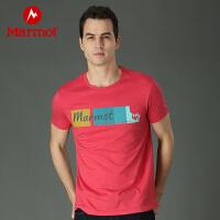 Marmot/土拨鼠春夏休闲户外男士运动T恤超轻舒适品牌短袖_F59600
