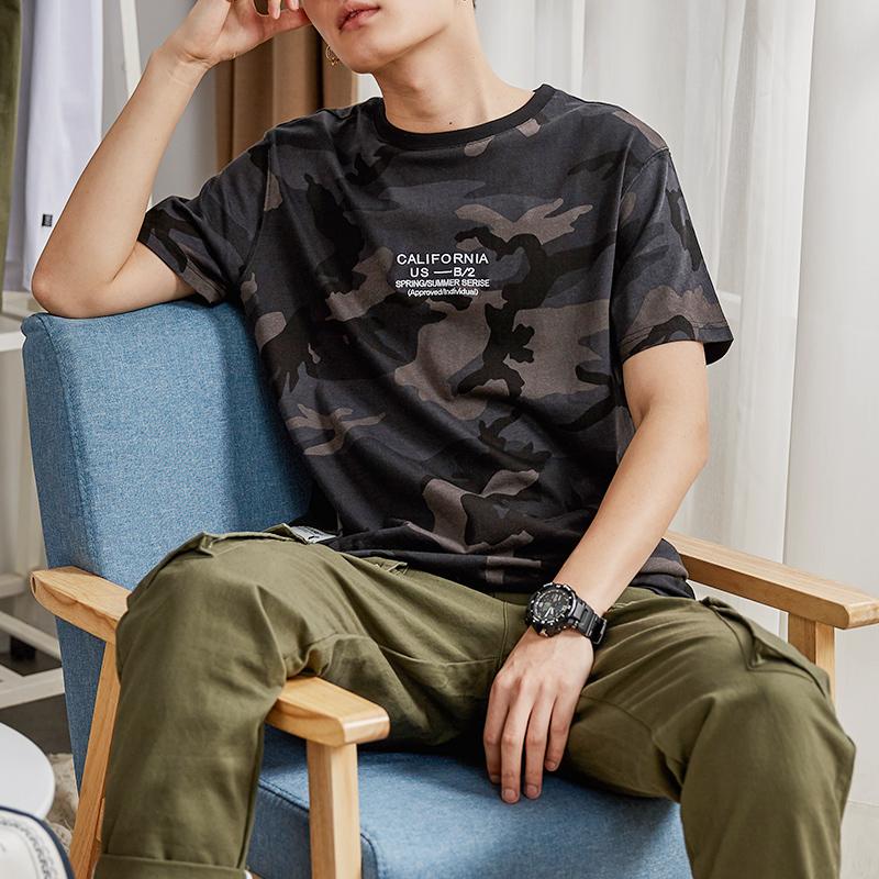【限时抢购】唐狮夏季新款短袖T恤男暗迷彩韩版宽松上衣青少年学生半袖潮 紧跟时尚潮流
