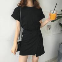 夏季韩版女装宽松百搭短袖圆领T恤系带设计显瘦休闲连衣裙中长裙 黑色 均码