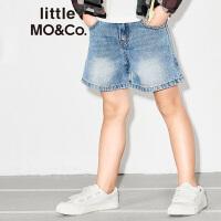 littlemoco洗水磨白宽松口袋牛仔休闲短裤KA172SOT405 moco