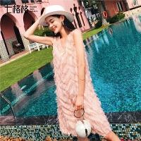 七格格雪纺连衣裙夏季春装2019新款女装V领气质法式复古仙女裙子