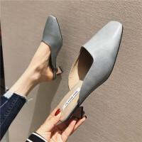 异形跟粗跟高跟拖鞋3019春季新款女鞋包头休闲穆勒拖纯色时尚百搭