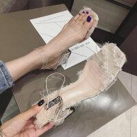 秋季新款韩版一字扣带时尚透明中跟凉鞋学生女鞋子潮网红