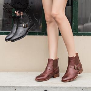 玛菲玛图英伦短靴女秋季2018新款短筒圆头低跟平底帅气皮带扣牛皮马丁靴女