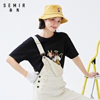 森�R短袖T恤女2020夏季新款��松白色打底衫�z印�荡a印花少女ins潮