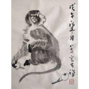 李苦禅经典国画作品_猴子_34-45_纸本_7800