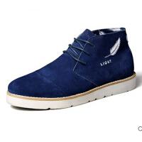 男士休闲板鞋 新品休闲反绒高帮皮鞋潮流男鞋男士板鞋