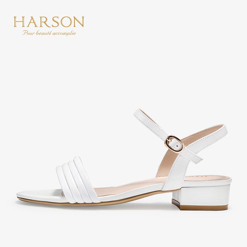 【秋冬新款 限时1折起】哈森 2019夏季新品羊皮革一字带露趾低跟HM92007