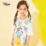 【99元3件】迪士尼宝宝大咖秀女童针织卡通短袖T恤夏季新品