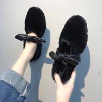 毛毛鞋女秋冬2018新外穿羊羔毛棉瓢鞋保暖加绒豆豆鞋平底懒人鞋