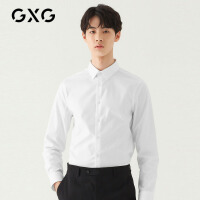 GXG男�b 秋季休�e�r尚青年�n版商�彰�C白色�L袖�r衫�r衣男