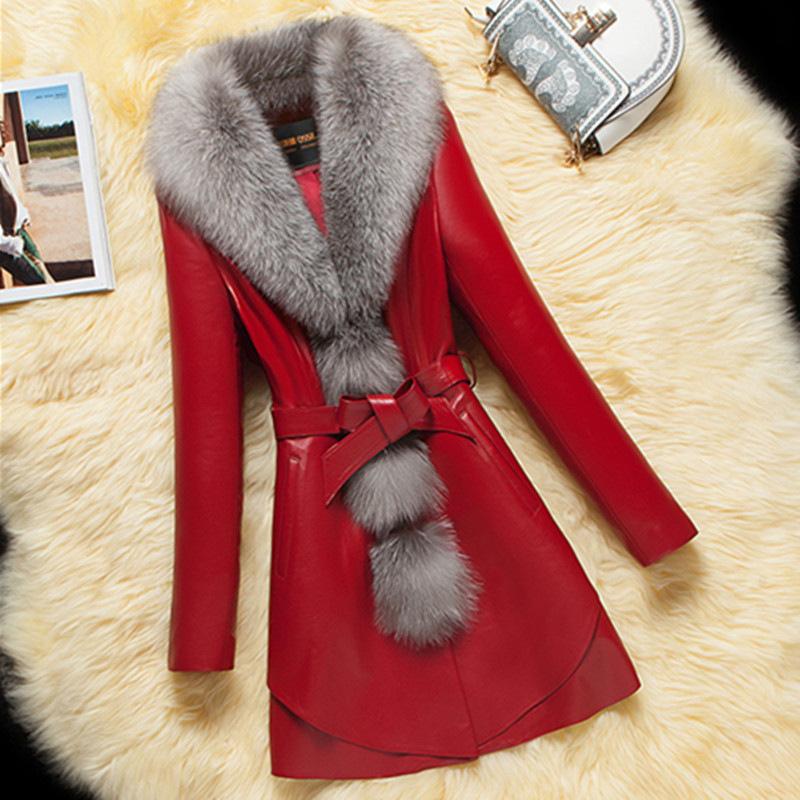 反季海保暖衣仿领皮草外套女中长款皮加棉女修身韩版显瘦