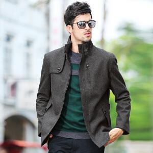 骆驼男装秋冬款无帽立领男士中长款商务休闲外套保暖毛呢大衣