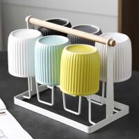 北欧式陶瓷杯子套装水杯家用 客厅简约6只茶杯水具杯具套装带杯架