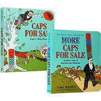 英文原版绘本 Caps for Sale/More Caps for Sale 纸板书 2册 卖帽子 吴敏兰绘本123