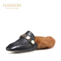 【 限时4折】哈森 冬尖头系带瘦脚女靴 牛皮革拉链细高跟短靴女HA81419