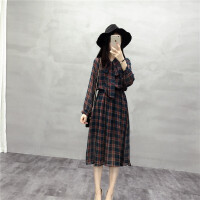 新年特惠复古秋装新款女连衣裙显瘦韩版气质格子雪纺印花裙中长款打底裙子 均码