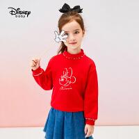 【3折�A估�r:55.7元】迪士尼女童�l衣2020年秋冬季童�b加�q洋�饣ㄟ�半高�I�和�����上衣