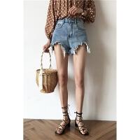 高腰牛仔短裤女夏季新款韩版chic宽松显瘦毛边破洞阔腿裤热裤 蓝色