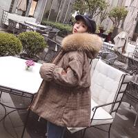 棉衣女中长款2019新款韩版显瘦格子棉袄冬大毛领收腰外套 图片色