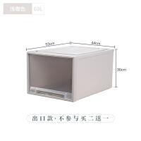 抽屉式收纳箱衣柜衣物收纳盒塑料透明内衣收纳盒被子储物箱整理箱 69L 出口款 不参与买二送一 1个装(买二送一 送同款