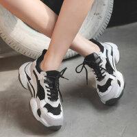 韩版百搭ulzzang运动鞋女 新款户外休闲女鞋厚底老爹鞋女 ins潮黑白系带女鞋