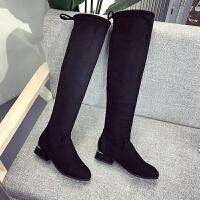 长靴女2019新款秋冬显瘦长筒高靴弹力瘦瘦靴高筒靴平底过膝靴 黑色