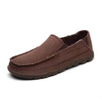 男士帆布鞋休闲老北京布鞋韩版潮乞丐鞋一脚蹬懒人鞋男 深咖啡 1701