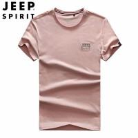 吉普 JEEP 男士短袖T恤 男休闲印花体恤衫 基础款t恤打底衫