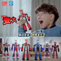 灵动创想奥特曼玩具变形发光男孩儿童超变玩偶艾克斯欧布迪迦套装