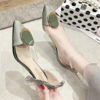 仙女的鞋时尚复古尖头透明粗跟床上法式少女高跟鞋凉鞋女