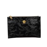 手包男潮新款美杜莎手拿包软皮休闲社会夹包大容量手拎信封包 黑色