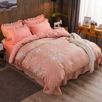 四件套冬季珊瑚绒加厚被套法兰绒床单加绒床裙毛绒床上用品法兰绒y 1.8米床 (适合200*230cm被芯)