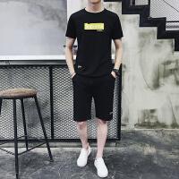 夏季男士短袖T恤圆领韩版休闲运动套装2019新款潮流夏天半袖衣服933