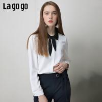 【清仓5折价161】Lagogo拉谷谷2019春季新款长袖学院风甜美雪纺衫上衣女IASS531A11